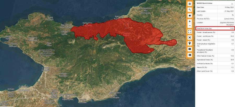 Χάρτης με την πυρκαγιά