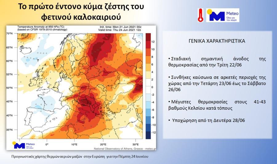 Χάρτης με κύμα καύσωνα