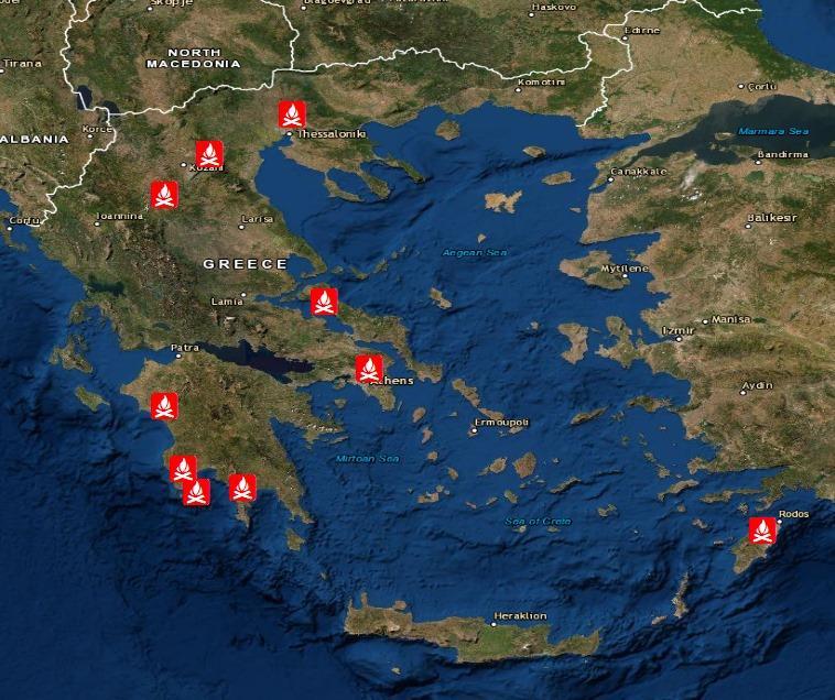 Χάρτης με φωτιές